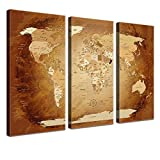 Mural - World Map Brown Colorful - en 150 x 100 cm, tripartido, Premium, Corcho,...